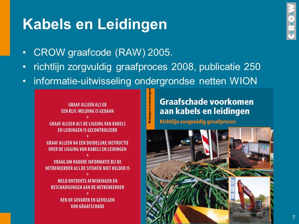 7 Kabels en Leidingen CROW graafcode (RAW) 2005. richtlijn zorgvuldig graafproces 2008, publicatie 250 informatie-uitwisseling ondergrondse netten WIO
