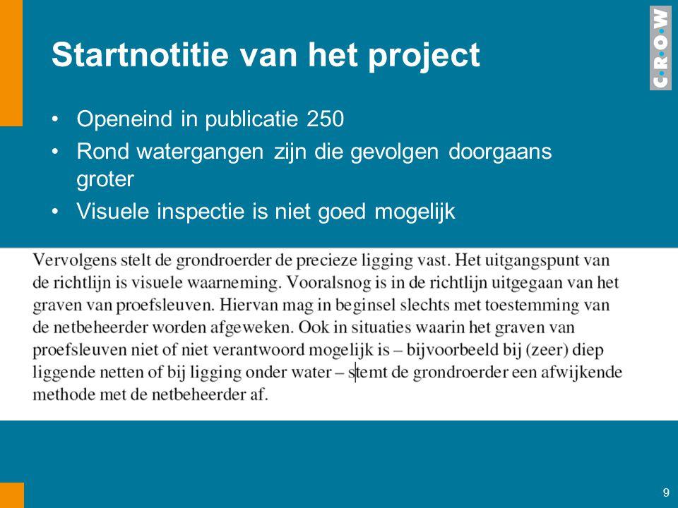 9 Startnotitie van het project Openeind in publicatie 250 Rond watergangen zijn die gevolgen doorgaans groter Visuele inspectie is niet goed mogelijk