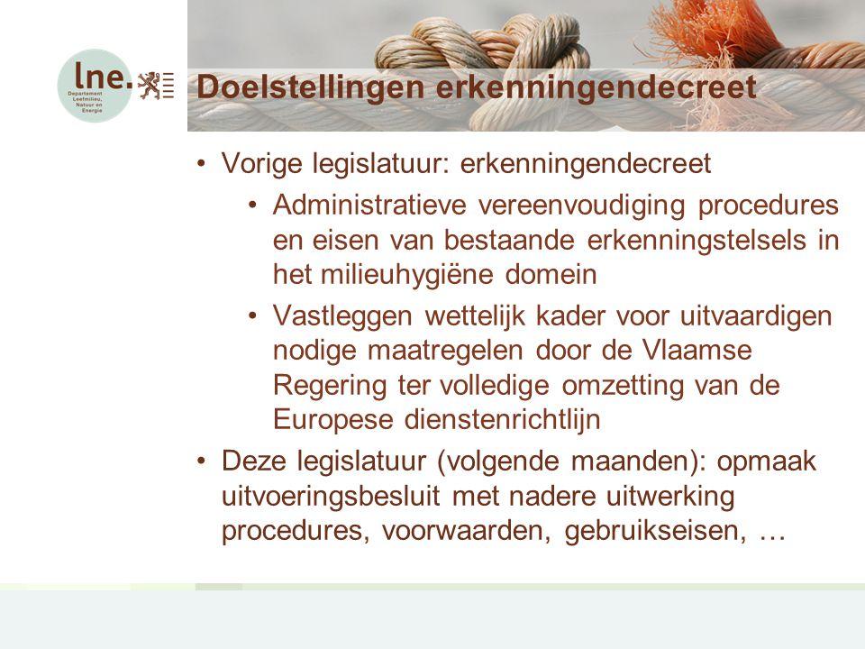 Doelstellingen erkenningendecreet Vorige legislatuur: erkenningendecreet Administratieve vereenvoudiging procedures en eisen van bestaande erkenningstelsels in het milieuhygiëne domein Vastleggen wettelijk kader voor uitvaardigen nodige maatregelen door de Vlaamse Regering ter volledige omzetting van de Europese dienstenrichtlijn Deze legislatuur (volgende maanden): opmaak uitvoeringsbesluit met nadere uitwerking procedures, voorwaarden, gebruikseisen, …