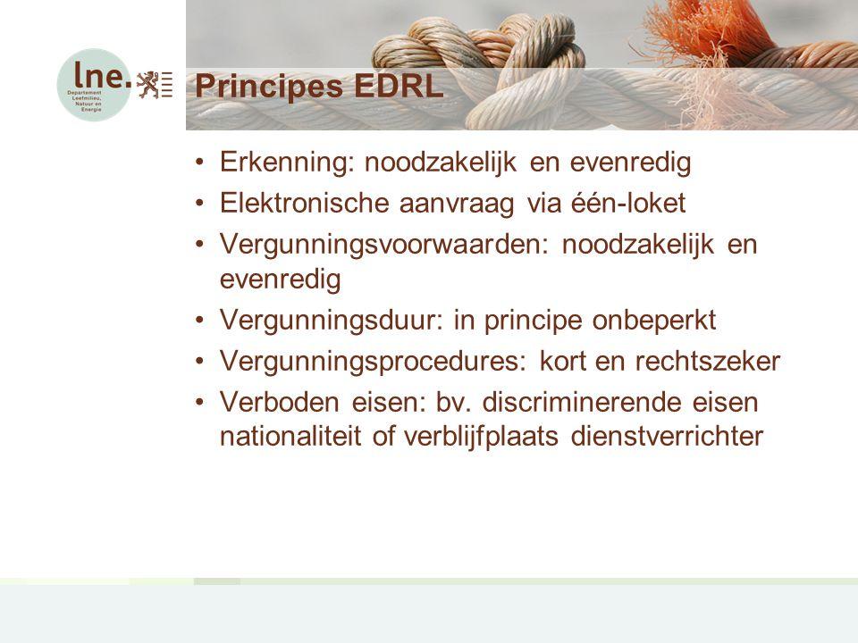 Principes EDRL Erkenning: noodzakelijk en evenredig Elektronische aanvraag via één-loket Vergunningsvoorwaarden: noodzakelijk en evenredig Vergunningsduur: in principe onbeperkt Vergunningsprocedures: kort en rechtszeker Verboden eisen: bv.