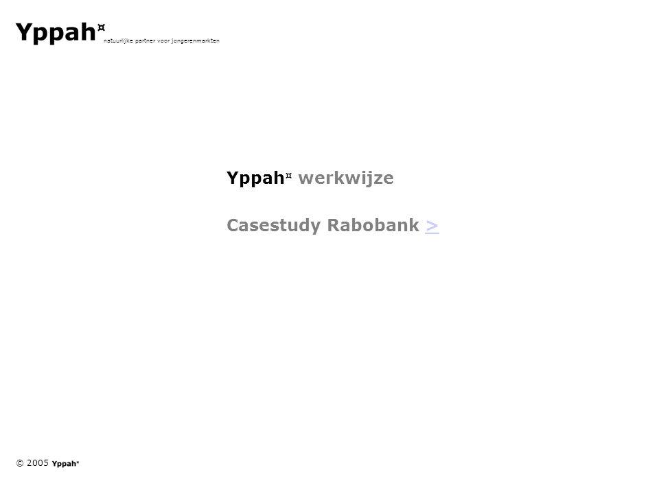 © 2005 natuurlijke partner voor jongerenmarkten Yppah ¤ werkwijze Casestudy Rabobank >>