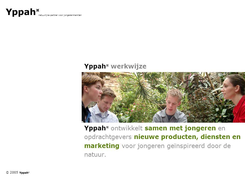 © 2005 natuurlijke partner voor jongerenmarkten Yppah ¤ werkwijze Yppah ¤ ontwikkelt samen met jongeren en opdrachtgevers nieuwe producten, diensten e