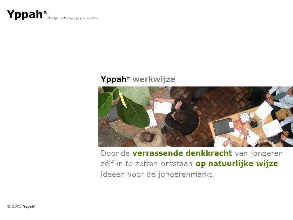 © 2005 natuurlijke partner voor jongerenmarkten Yppah ¤ werkwijze Door de verrassende denkkracht van jongeren zélf in te zetten ontstaan op natuurlijke wijze ideeën voor de jongerenmarkt.