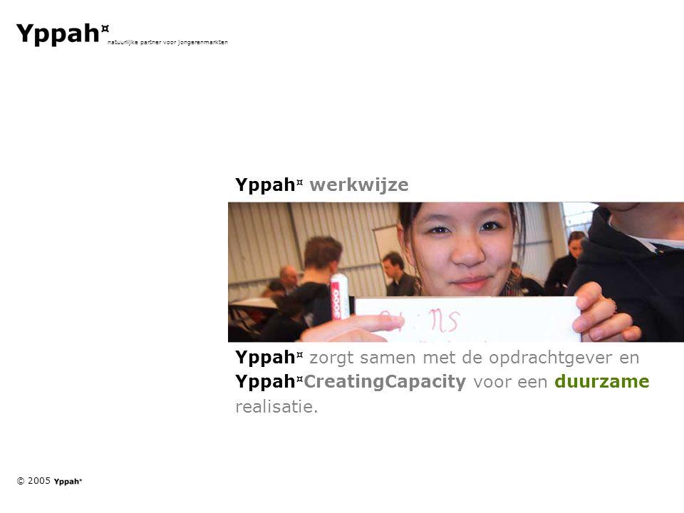 © 2005 natuurlijke partner voor jongerenmarkten Yppah ¤ werkwijze Yppah ¤ zorgt samen met de opdrachtgever en Yppah ¤ CreatingCapacity voor een duurza