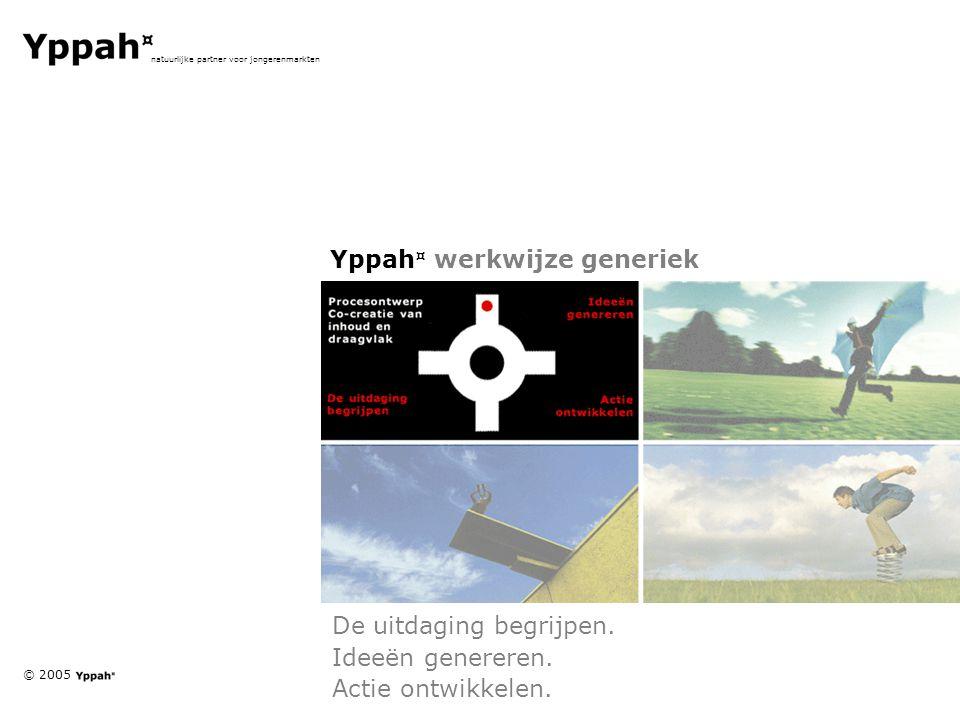 © 2005 natuurlijke partner voor jongerenmarkten Yppah ¤ werkwijze generiek De uitdaging begrijpen. Ideeën genereren. Actie ontwikkelen.