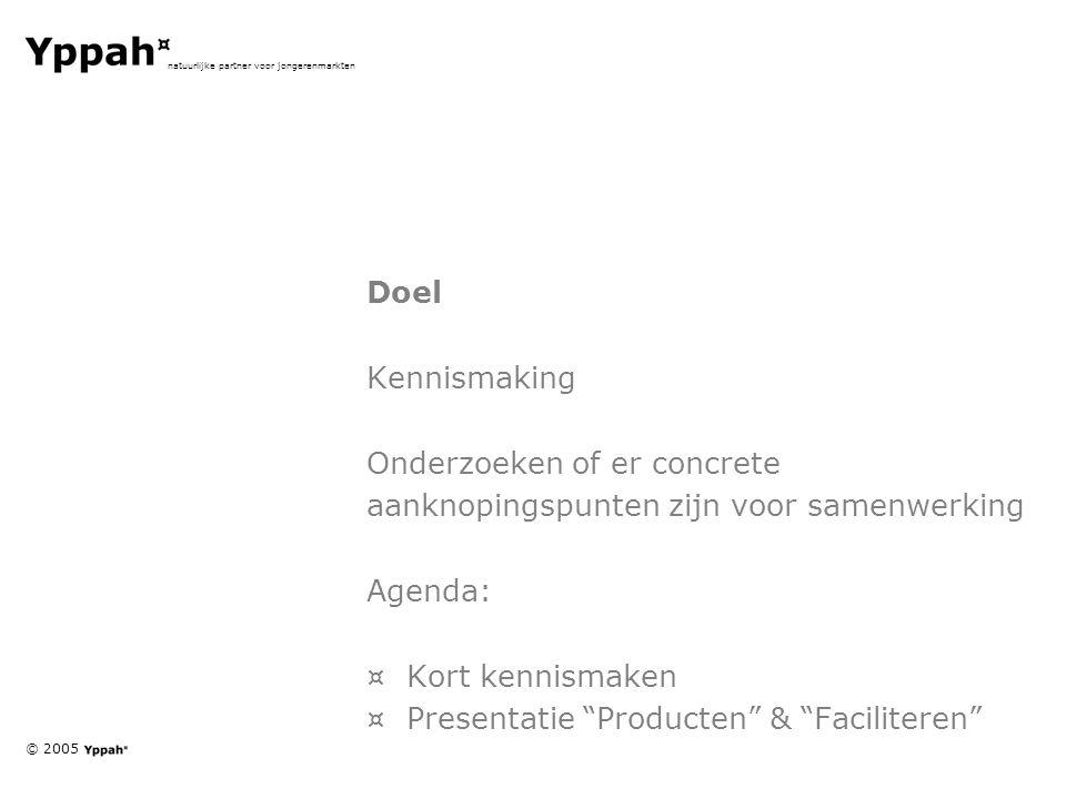 © 2005 natuurlijke partner voor jongerenmarkten Doel Kennismaking Onderzoeken of er concrete aanknopingspunten zijn voor samenwerking Agenda: ¤Kort kennismaken ¤Presentatie Producten & Faciliteren