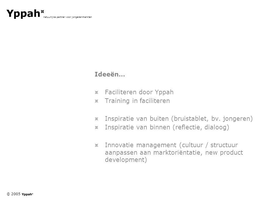 © 2005 natuurlijke partner voor jongerenmarkten Ideeën… ¤Faciliteren door Yppah ¤Training in faciliteren ¤Inspiratie van buiten (bruistablet, bv. jong