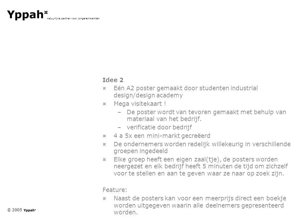 © 2005 natuurlijke partner voor jongerenmarkten Idee 2 ¤Eén A2 poster gemaakt door studenten industrial design/design academy ¤Mega visitekaart ! –De