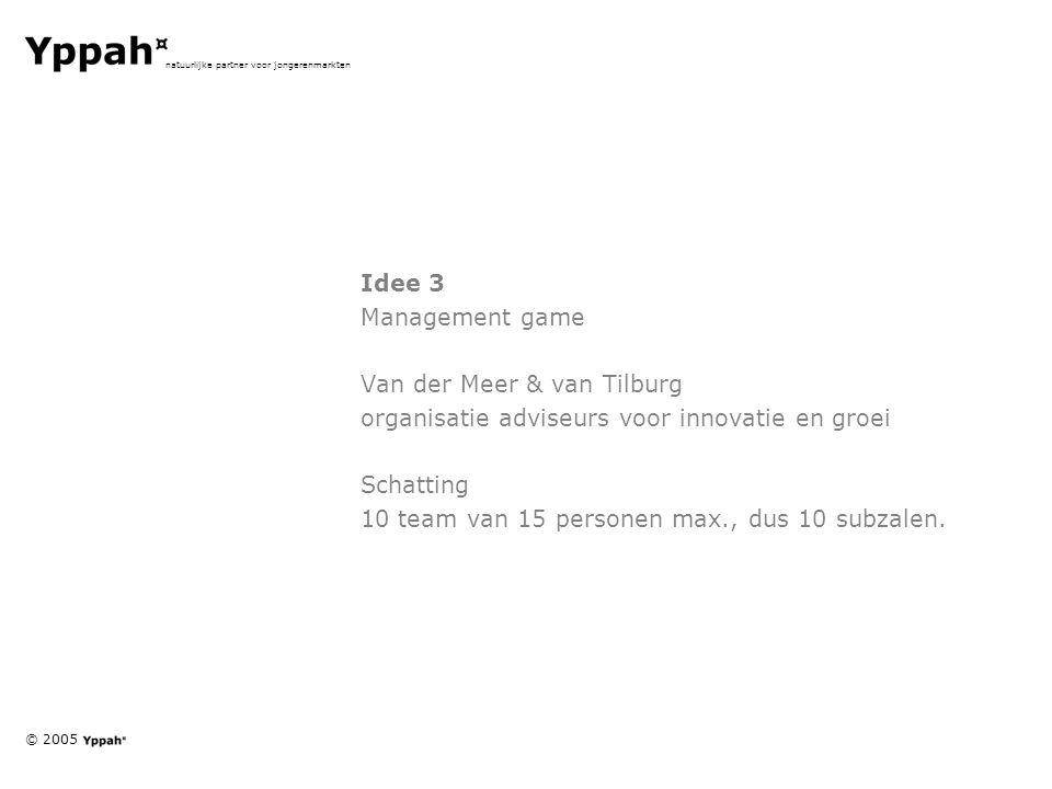 © 2005 natuurlijke partner voor jongerenmarkten Idee 3 Management game Van der Meer & van Tilburg organisatie adviseurs voor innovatie en groei Schatting 10 team van 15 personen max., dus 10 subzalen.