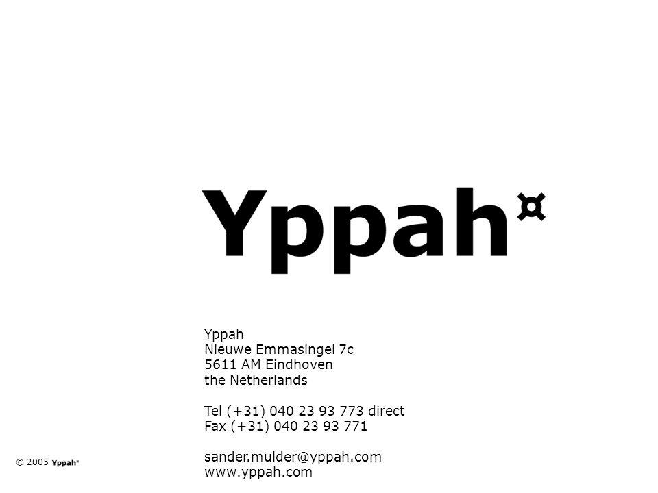 © 2005 natuurlijke partner voor jongerenmarkten Yppah Nieuwe Emmasingel 7c 5611 AM Eindhoven the Netherlands Tel (+31) 040 23 93 773 direct Fax (+31) 040 23 93 771 sander.mulder@yppah.com www.yppah.com