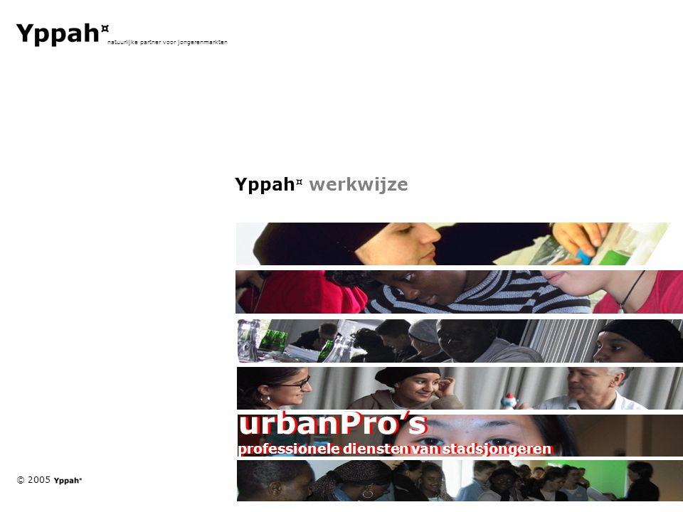© 2005 natuurlijke partner voor jongerenmarkten Yppah ¤ werkwijze urbanPro's professionele diensten van stadsjongeren urbanPro's professionele diensten van stadsjongeren