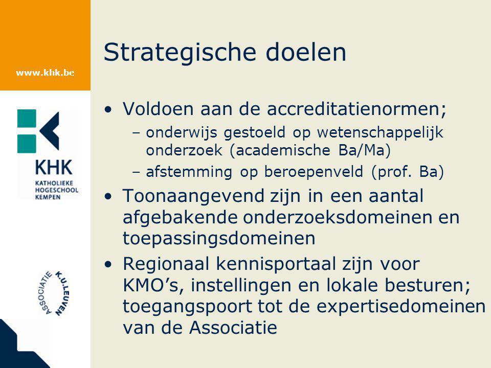www.khk.be Strategische doelen Voldoen aan de accreditatienormen; –onderwijs gestoeld op wetenschappelijk onderzoek (academische Ba/Ma) –afstemming op