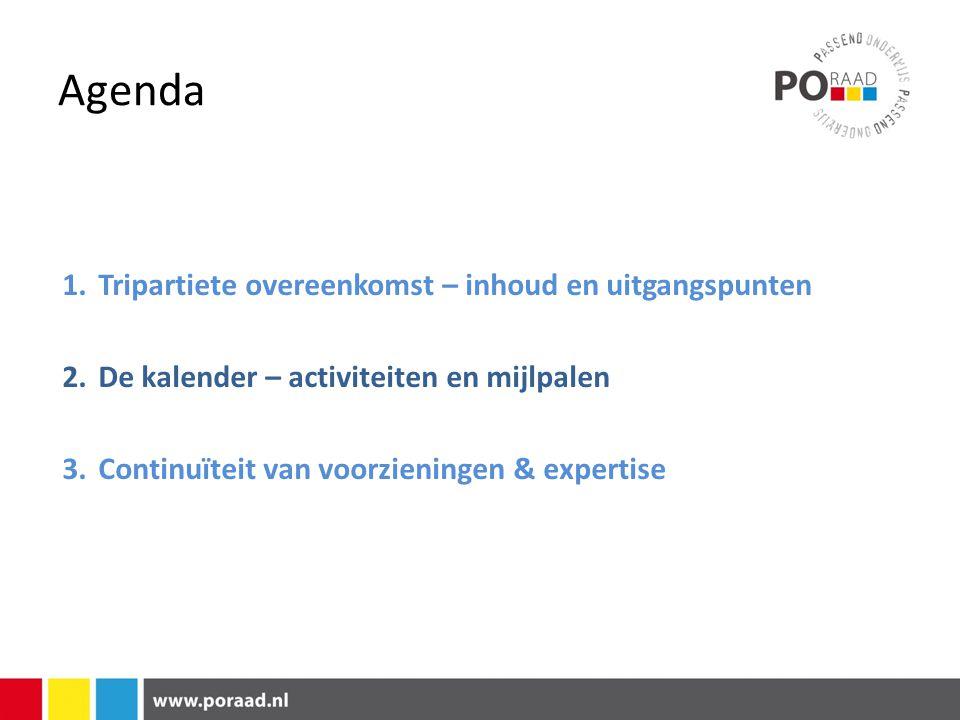 Agenda 1.Tripartiete overeenkomst – inhoud en uitgangspunten 2.De kalender – activiteiten en mijlpalen 3.Continuïteit van voorzieningen & expertise