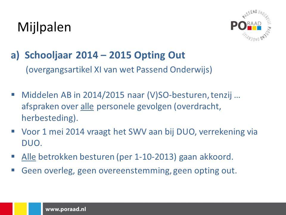 Mijlpalen a) Schooljaar 2014 – 2015 Opting Out (overgangsartikel XI van wet Passend Onderwijs)  Middelen AB in 2014/2015 naar (V)SO-besturen, tenzij