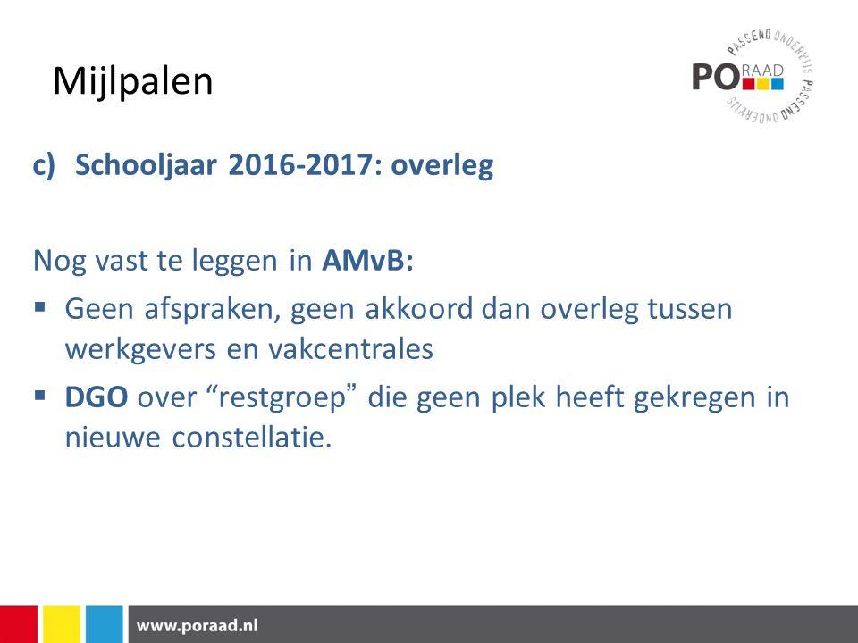 Mijlpalen c)Schooljaar 2016-2017: overleg Nog vast te leggen in AMvB:  Geen afspraken, geen akkoord dan overleg tussen werkgevers en vakcentrales  D