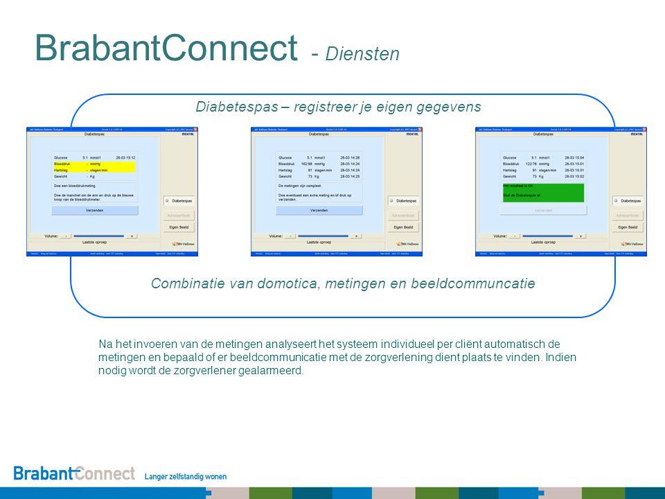Diabetespas – registreer je eigen gegevens BrabantConnect - Diensten Na het invoeren van de metingen analyseert het systeem individueel per cliënt automatisch de metingen en bepaald of er beeldcommunicatie met de zorgverlening dient plaats te vinden.