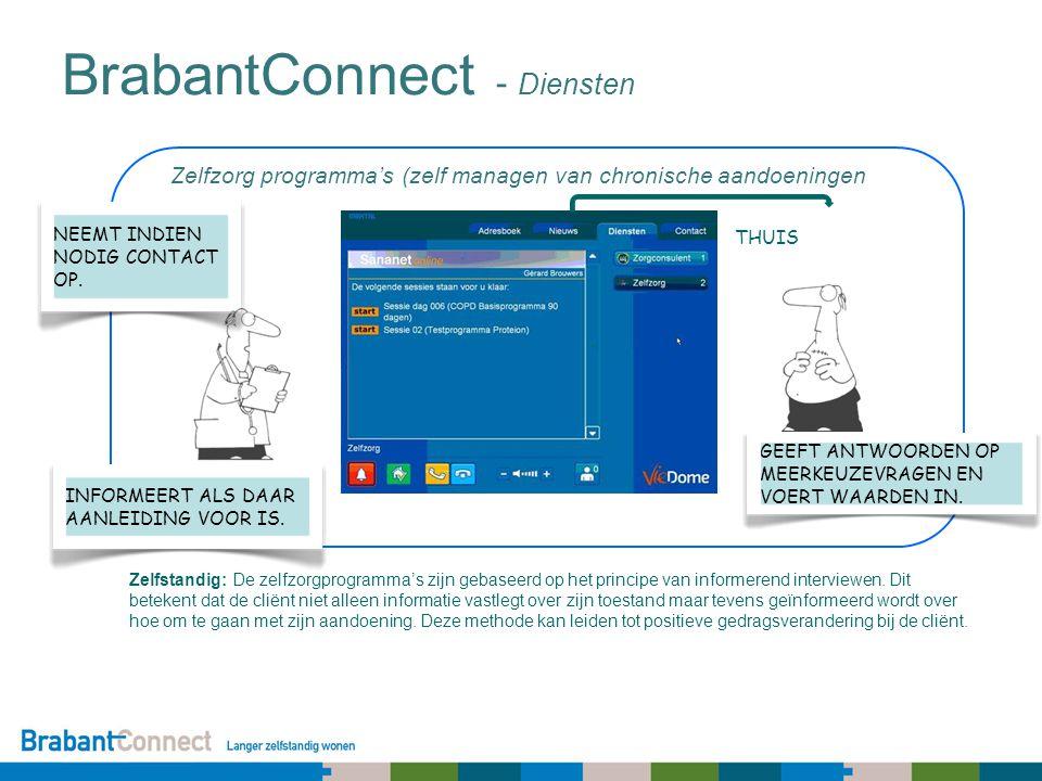 Zelfzorg programma's (zelf managen van chronische aandoeningen BrabantConnect - Diensten Zelfstandig: De zelfzorgprogramma's zijn gebaseerd op het principe van informerend interviewen.