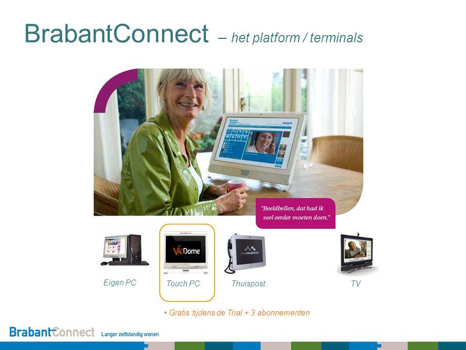 BrabantConnect – het platform / terminals Eigen PC Touch PCThuispostTV Gratis tijdens de Trial + 3 abonnementen