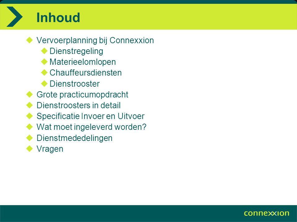 Inhoud  Vervoerplanning bij Connexxion  Dienstregeling  Materieelomlopen  Chauffeursdiensten  Dienstrooster  Grote practicumopdracht  Dienstroo