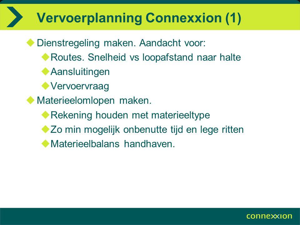 Vervoerplanning Connexxion (1)  Dienstregeling maken. Aandacht voor:  Routes. Snelheid vs loopafstand naar halte  Aansluitingen  Vervoervraag  Ma