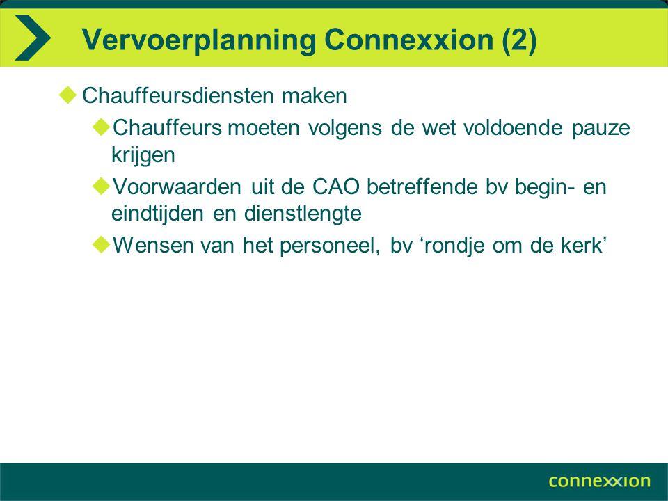 Vervoerplanning Connexxion (2)  Chauffeursdiensten maken  Chauffeurs moeten volgens de wet voldoende pauze krijgen  Voorwaarden uit de CAO betreffe