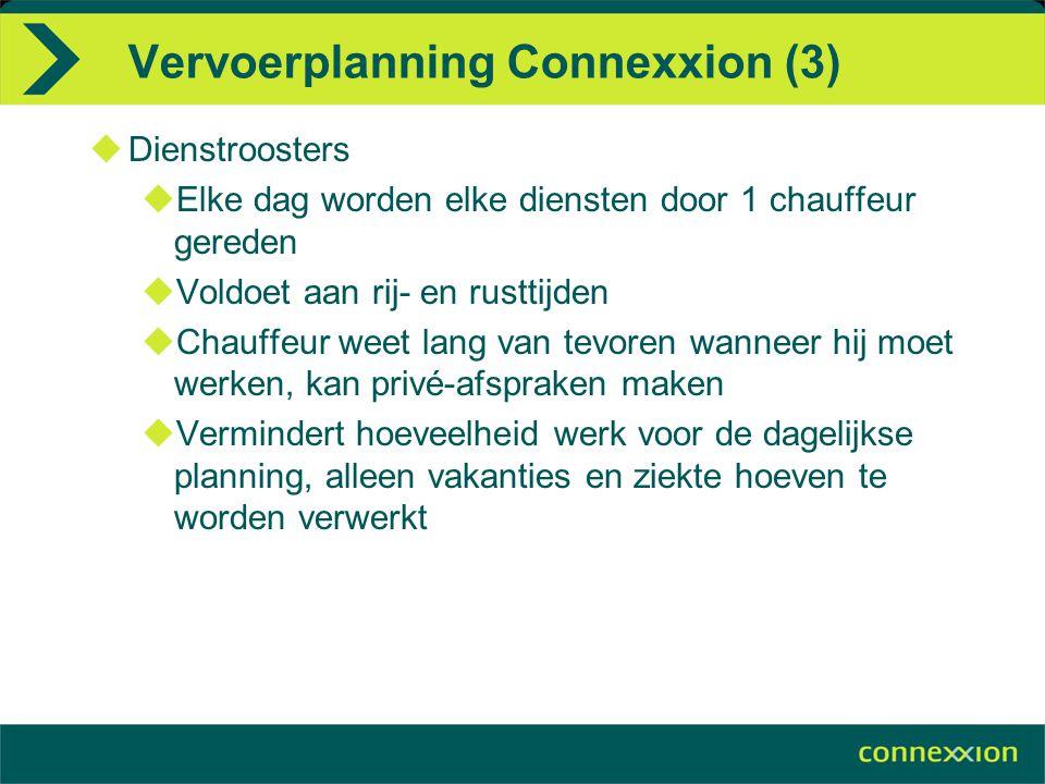 Vervoerplanning Connexxion (3)  Dienstroosters  Elke dag worden elke diensten door 1 chauffeur gereden  Voldoet aan rij- en rusttijden  Chauffeur