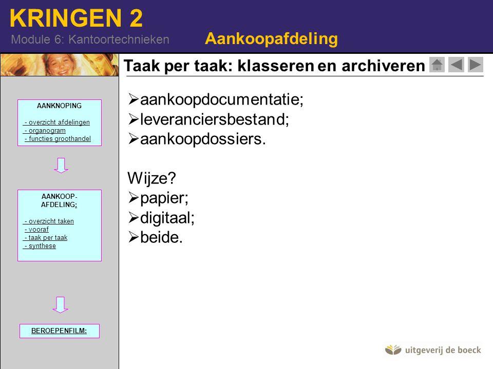 KRINGEN 2 Module 6: Kantoortechnieken Taak per taak: klasseren en archiveren Aankoopafdeling  aankoopdocumentatie;  leveranciersbestand;  aankoopdo
