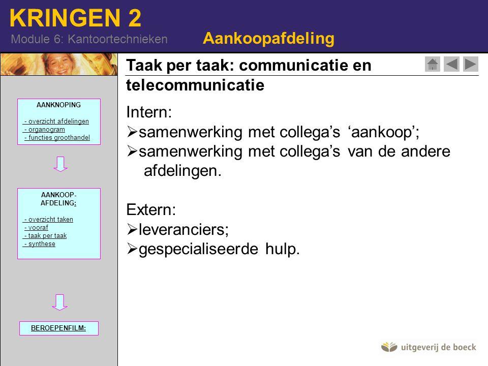 KRINGEN 2 Module 6: Kantoortechnieken Taak per taak: communicatie en telecommunicatie Aankoopafdeling Intern:  samenwerking met collega's 'aankoop';