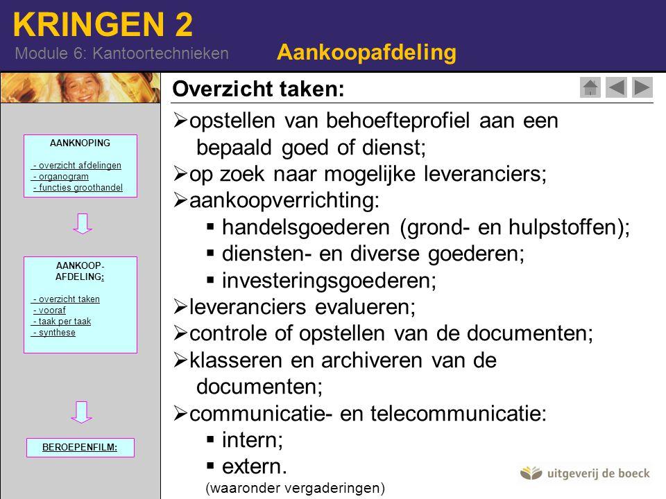 KRINGEN 2 Module 6: Kantoortechnieken Aankoopafdeling Overzicht taken:  opstellen van behoefteprofiel aan een bepaald goed of dienst; p zoek naar mog