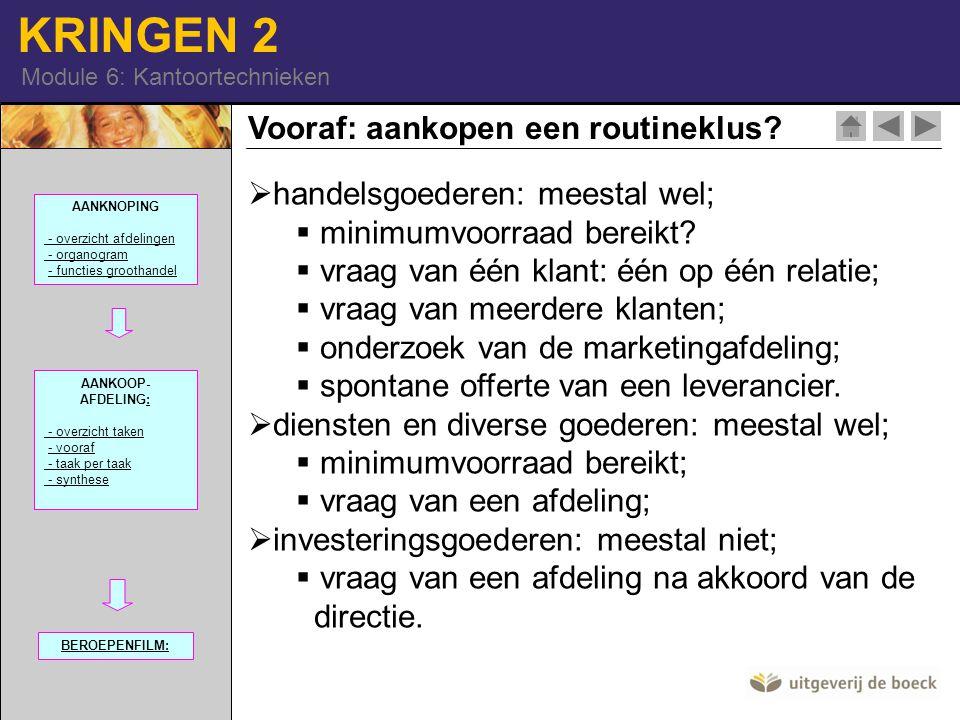 KRINGEN 2 Module 6: Kantoortechnieken Vooraf: aankopen een routineklus?  handelsgoederen: meestal wel;  minimumvoorraad bereikt?  vraag van één kla