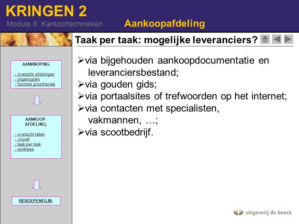 KRINGEN 2 Module 6: Kantoortechnieken Taak per taak: mogelijke leveranciers? Aankoopafdeling  via bijgehouden aankoopdocumentatie en leveranciersbest