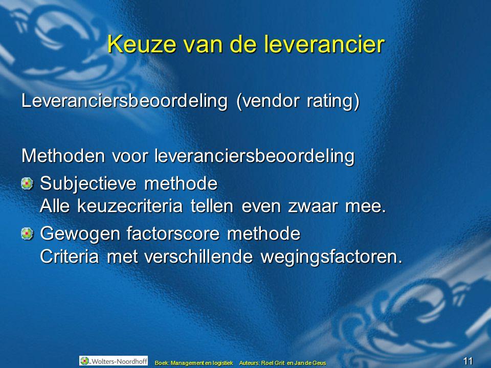 11 Boek: Management en logistiek Auteurs: Roel Grit en Jan de Geus Keuze van de leverancier Leveranciersbeoordeling (vendor rating) Methoden voor leveranciersbeoordeling Subjectieve methode Alle keuzecriteria tellen even zwaar mee.