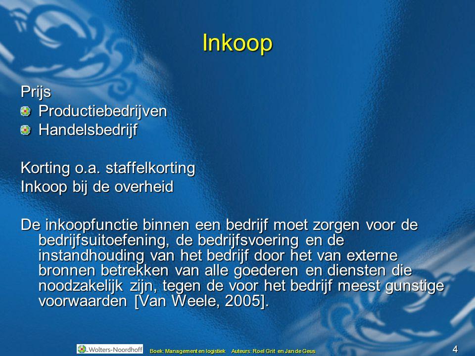 4 Boek: Management en logistiek Auteurs: Roel Grit en Jan de Geus Inkoop PrijsProductiebedrijvenHandelsbedrijf Korting o.a.