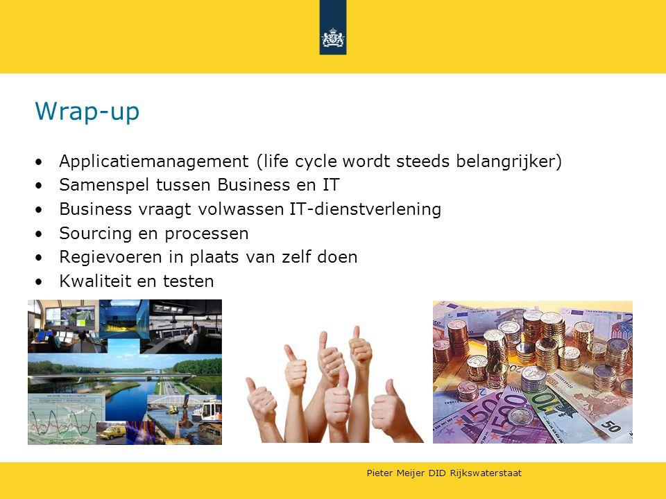 Wrap-up Applicatiemanagement (life cycle wordt steeds belangrijker) Samenspel tussen Business en IT Business vraagt volwassen IT-dienstverlening Sourcing en processen Regievoeren in plaats van zelf doen Kwaliteit en testen
