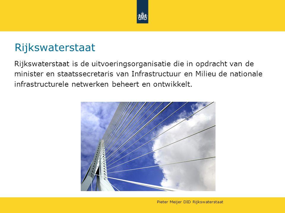 Pieter Meijer DID Rijkswaterstaat Rijkswaterstaat Rijkswaterstaat is de uitvoeringsorganisatie die in opdracht van de minister en staatssecretaris van Infrastructuur en Milieu de nationale infrastructurele netwerken beheert en ontwikkelt.