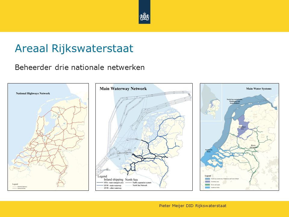 Pieter Meijer DID Rijkswaterstaat Areaal Rijkswaterstaat Beheerder drie nationale netwerken
