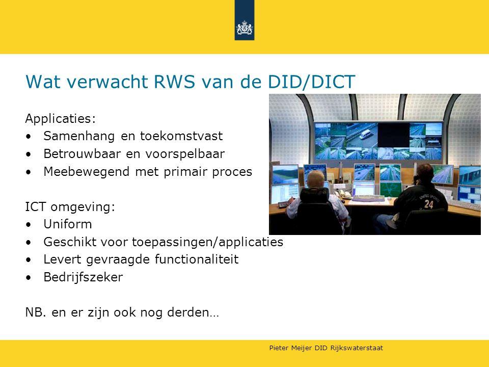Pieter Meijer DID Rijkswaterstaat Wat verwacht RWS van de DID/DICT Applicaties: Samenhang en toekomstvast Betrouwbaar en voorspelbaar Meebewegend met primair proces ICT omgeving: Uniform Geschikt voor toepassingen/applicaties Levert gevraagde functionaliteit Bedrijfszeker NB.