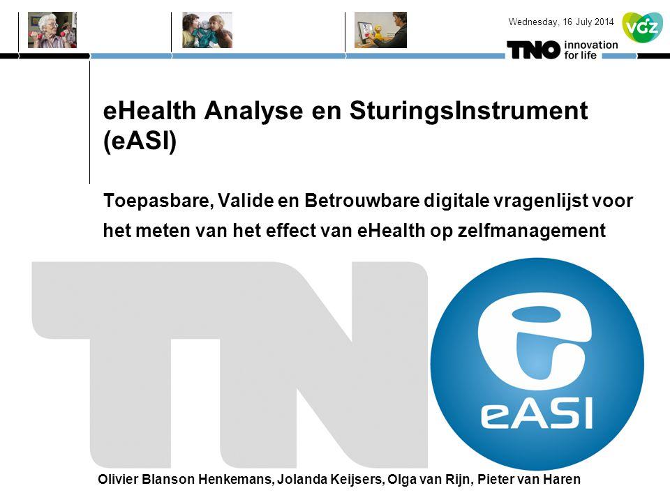 eHealth Analyse en SturingsInstrument (eASI) Toepasbare, Valide en Betrouwbare digitale vragenlijst voor het meten van het effect van eHealth op zelfm