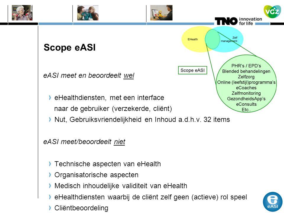 Scope eASI eASI meet en beoordeelt wel eHealthdiensten, met een interface naar de gebruiker (verzekerde, cliënt) Nut, Gebruiksvriendelijkheid en Inhou