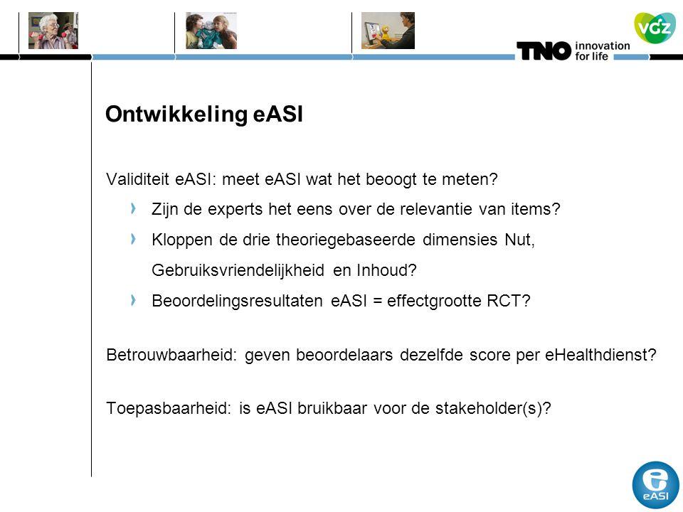 Ontwikkeling eASI Validiteit eASI: meet eASI wat het beoogt te meten? Zijn de experts het eens over de relevantie van items? Kloppen de drie theoriege