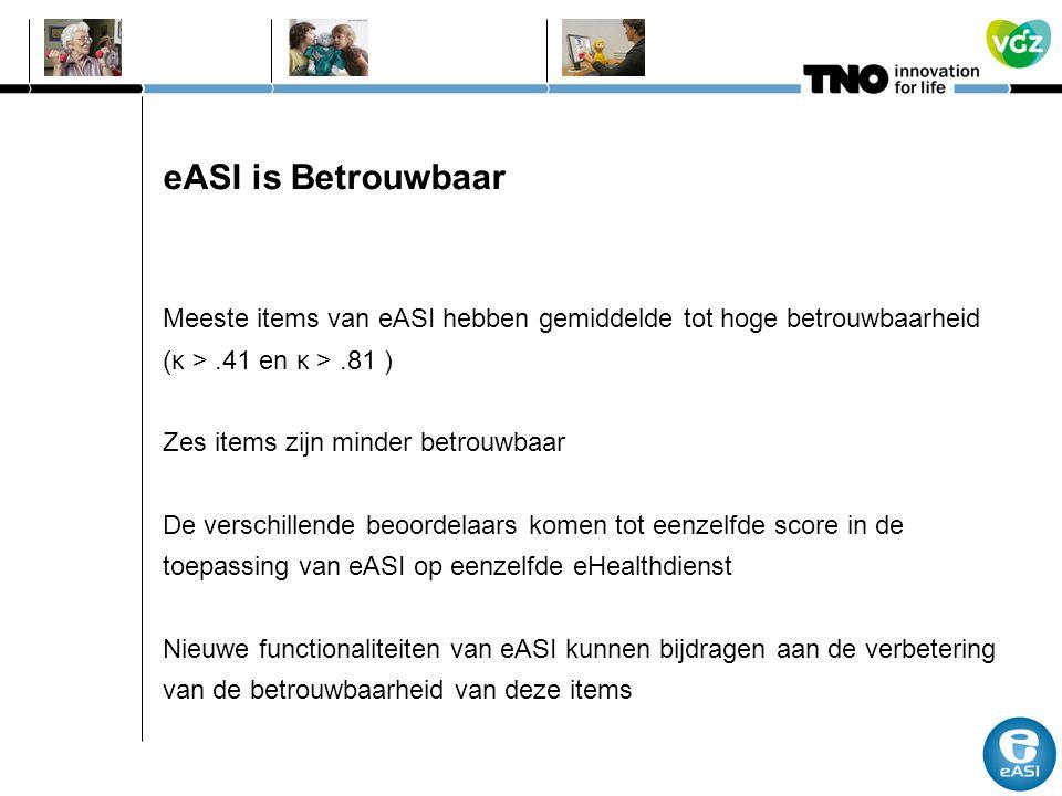 eASI is Betrouwbaar Meeste items van eASI hebben gemiddelde tot hoge betrouwbaarheid (κ >.41 en κ >.81 ) Zes items zijn minder betrouwbaar De verschil