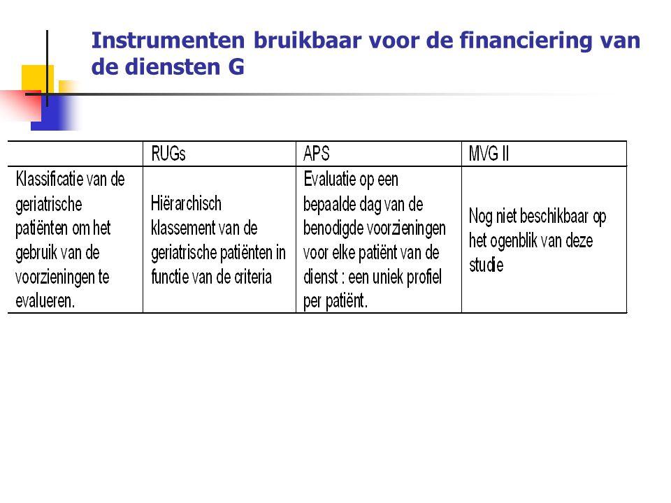 Instrumenten bruikbaar voor de financiering van de diensten G : de RUGs (Resources Utilization Groups) RUG bouwt vertrekkende van de gegevens van de RAI (verzameld bij patiënten opgenomen in revalidatiecentra of nursing homes) 44 RUGs op basis van: 1/ Niveau van hulpbehoevendheid 2/ Hiërarchisatie volgens: Effectieve tijd toegediende revalidatie (aantal minuten de 7 laatste dagen) Buitengewoon hoog Zeer hoog Hoog Matig Laag Bijzondere zorgen Complexe pathologie Cognitieve stoornissen Gedragstoornissen Functiebeperkingen Indien de patiënt geen revalidatie krijgt, wordt hij ingedeeld volgens de andere klassen en worden de punten opgeteld.