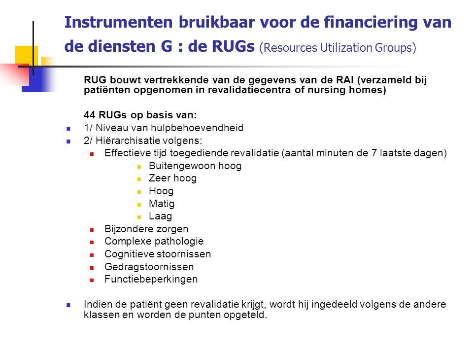 Instrumenten bruikbaar voor de financiering van de diensten G : de RUGs (Resources Utilization Groups) RUG bouwt vertrekkende van de gegevens van de R