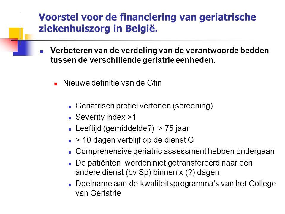 Voorstel voor de financiering van geriatrische ziekenhuiszorg in België. Verbeteren van de verdeling van de verantwoorde bedden tussen de verschillend