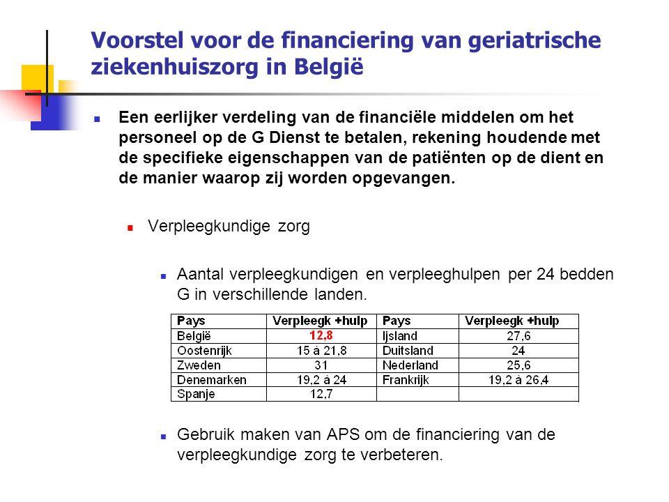 Voorstel voor de financiering van geriatrische ziekenhuiszorg in België Een eerlijker verdeling van de financiële middelen om het personeel op de G Di