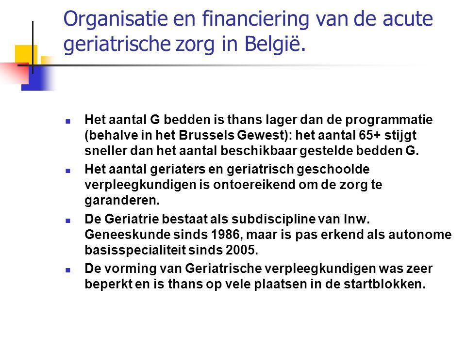 Organisatie en financiering van de acute geriatrische zorg in België. Het aantal G bedden is thans lager dan de programmatie (behalve in het Brussels