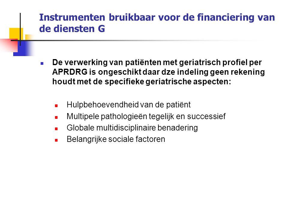 Instrumenten bruikbaar voor de financiering van de diensten G De verwerking van patiënten met geriatrisch profiel per APRDRG is ongeschikt daar dze in