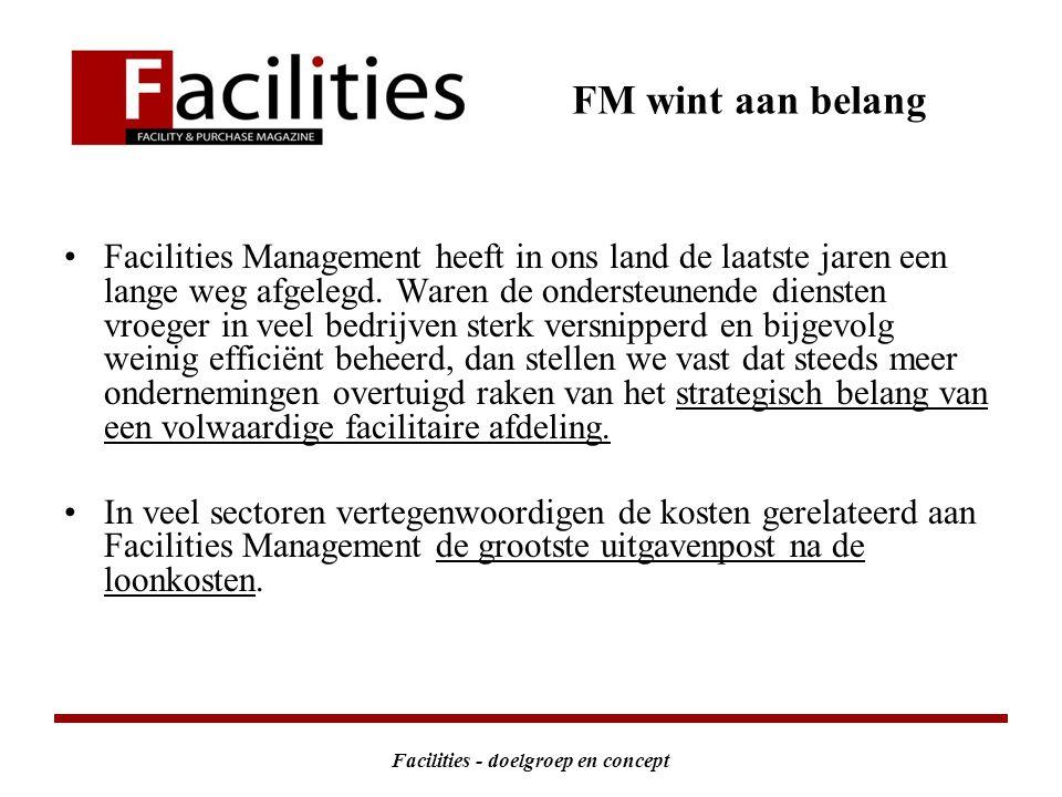 Facilities - doelgroep en concept FM wint aan belang Facilities Management heeft in ons land de laatste jaren een lange weg afgelegd.