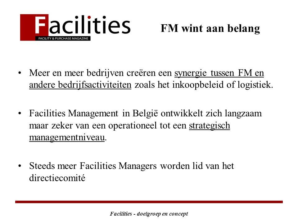 Facilities - doelgroep en concept FM wint aan belang Meer en meer bedrijven creëren een synergie tussen FM en andere bedrijfsactiviteiten zoals het inkoopbeleid of logistiek.