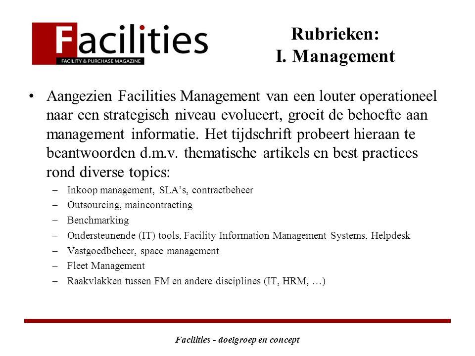 Facilities - doelgroep en concept Rubrieken: I.